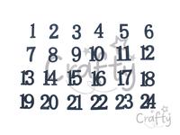 Drevené adventné čísla so zamatovým povrchom - tmavomodré