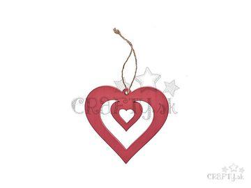 Drevené dvojité srdce 10cm so špagátom