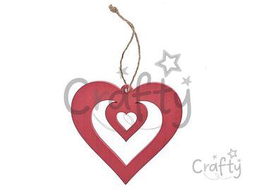 Drevené dvojité srdce 12cm so špagátom
