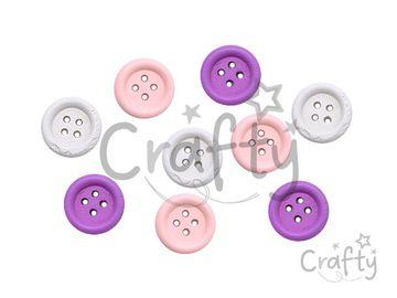 Drevené gombíky 15mm - 9ks - biele, ružové, fialové