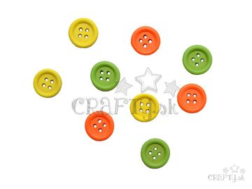Drevené gombíky 15mm - 9ks - zelené, žlté, oranžové