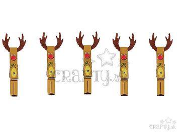 Drevené maľované štipce s filcom 5ks - soby
