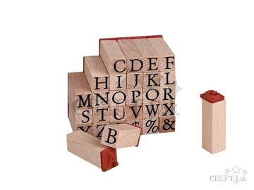 Drevené mini pečiatky 30ks - abeceda veľká
