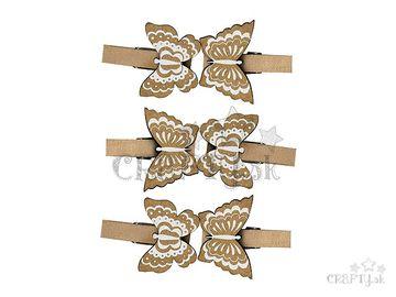 Drevené ozdobné štipce 6ks - motýle