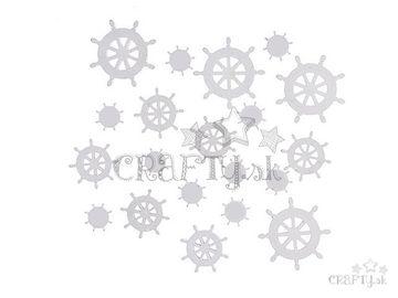 Drevené ozdobné výrezy 20ks - biele kormidlá