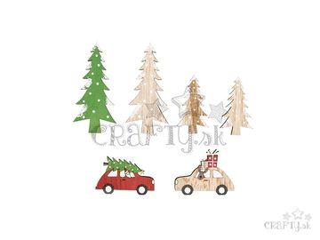 Drevené vianočné ozdoby 6ks - autíčka a stromy
