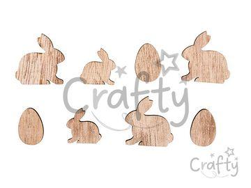 Drevené výrezy zajace a vajcia - 16ks