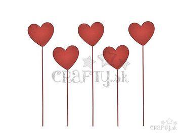 Drevené zapichovacie srdce na špajli 30cm - červené plné