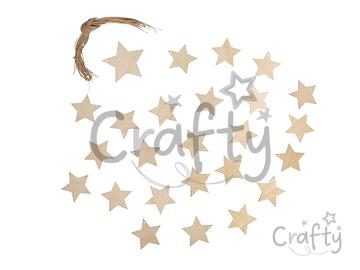 Drevené závesné hviezdičky 24ks - adventné