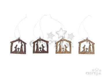 Drevené závesné vianočné ozdoby 4ks - zlatý Betlehem