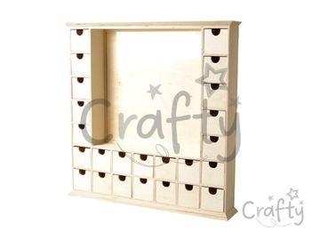 Drevený adventný kalendár s 24 zásuvkami