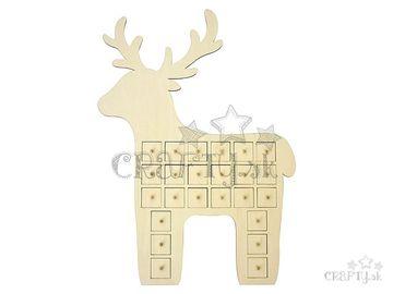 Drevený adventný kalendár s 24 zásuvkami - jeleň