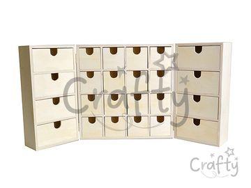 Drevený adventný kalendár so zásuvkami - otvárací