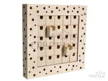 Drevený svietiaci adventný kalendár s 25 zásuvkami