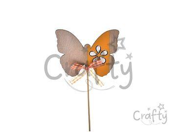 Drevený zapichovací motýľ na špajli 21cm - oranžový so stužkou
