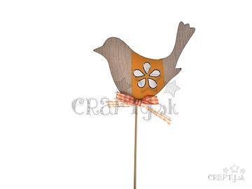 Drevený zapichovací vtáčik na špajli 21cm - oranžový so stužkou