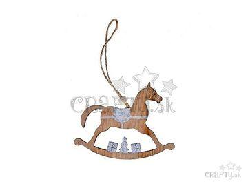 Drevený závesný hojdací koník s glitrami 13cm - strieborný