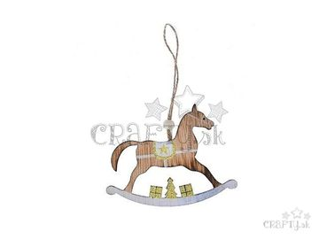Drevený závesný hojdací koník s glitrami 13cm - zlatý