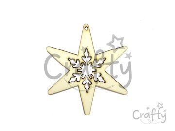 Dýhový drevený výrez VLOČKA 10cm - závesná hviezda