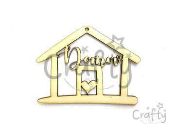 Dýhový drevený závesný výrez domček 13cm s nápisom Domov