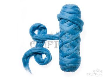 Farebná česaná Merino vlna - plsť 50g - nebovo modrá