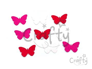 Filcové výrezy 4cm 9ks - červené motýle