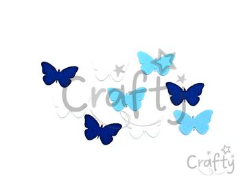 Filcové výrezy 4cm 9ks - modré motýle