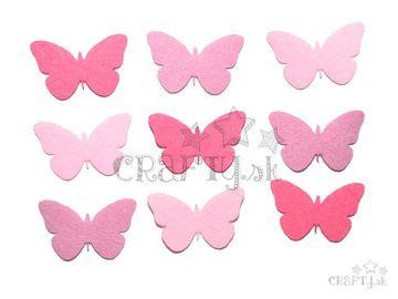 Filcové výrezy 4cm 9ks - motýle - ružové