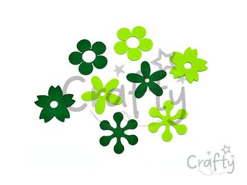 Filcové výrezy 5cm 8ks - kvietky zelené