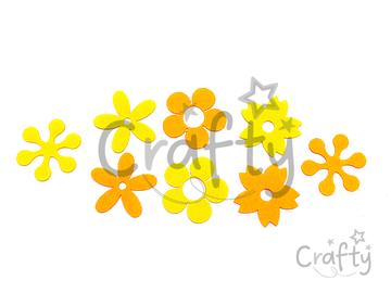 Filcové výrezy 5cm 8ks - kvietky žlté