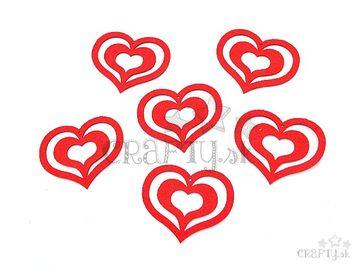 Filcové výrezy 6,5cm - srdcia 2 v 1