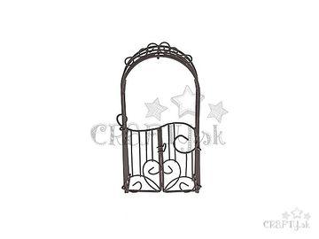Kovová mini záhradná brána 16cm hnedá