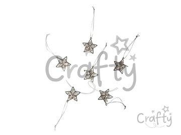 Kovové závesné hviezdičky s kamienkami 6ks - strieborné