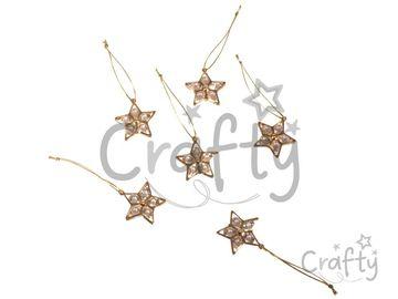 Kovové závesné hviezdičky s kamienkami 6ks - zlaté