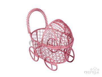 Kovový drôtený kočík 8cm - ružový