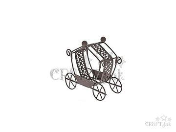 Kovový mini rozprávkový koč 9,5cm hnedý