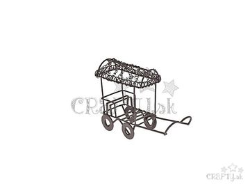 Kovový mini vozík 11,5cm hnedý