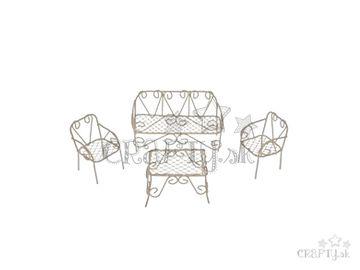 Kovový set mini záhradného nábytku 4ks - biely