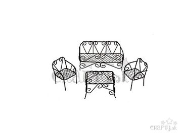 Kovový set mini záhradného nábytku 4ks - hnedý