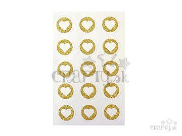 Kreatívne glitrové nálepky kruhy 25mm - zlaté srdiečka