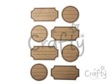 Kreatívne kraftové nálepky 32ks - krojené štítky s riadkami