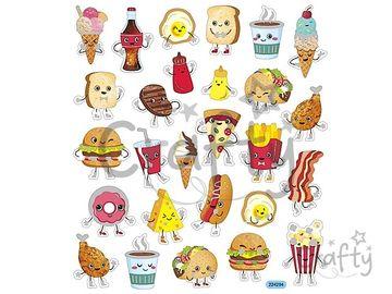 Kreatívne nálepky - fast food postavičky