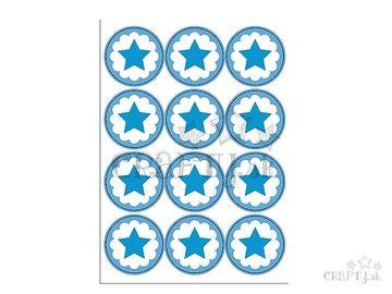 Kreatívne nálepky kruhy 48ks hviezdičky - modré