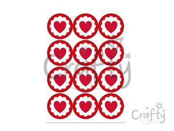 Kreatívne nálepky kruhy 48ks srdiečka - červené