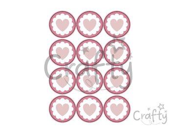 Kreatívne nálepky kruhy 48ks srdiečka - pastelové ružové