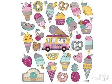 Kreatívne nálepky - zmrzliny metalické dúhové