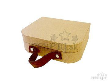 Kufrík z Papier-mâché s koženou rúčkou - 16x13cm