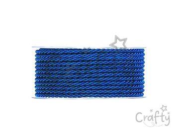 Lesklá zapletaná šnúrka 3mm - námornícka modrá