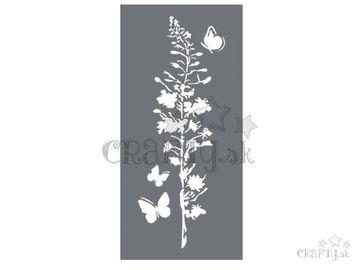 MixMedia šablóna 12x25cm - lúčny kvet a motýle