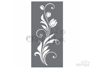 MixMedia šablóna 12x25cm - ornament tulipány